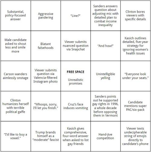Presidential Forum Bingo